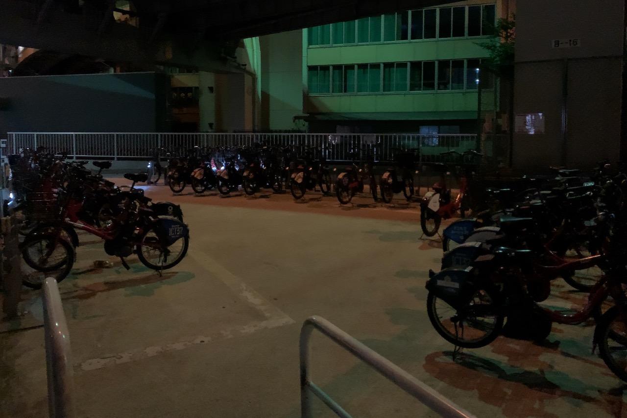 一の橋 サイクルポート(夜)